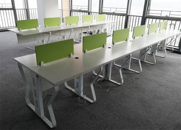 二手果绿色电脑桌员工办公桌工作台