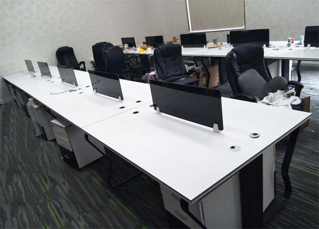 二手白色面板电脑桌工位桌员工办公桌