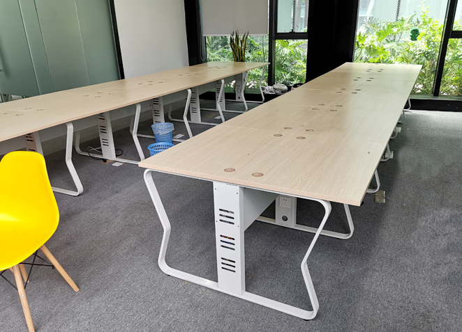 办公室 四人位员工桌 钢木屏风卡位简约办公桌电脑桌工作位