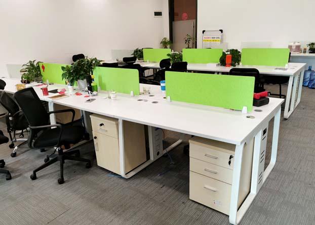 简约四人屏风职员办公桌椅组合4人位办工作桌钢架电脑桌
