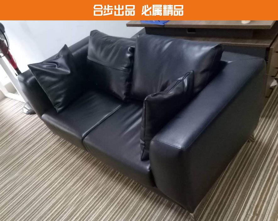 合步二手办公家具网,二手办公沙发,皮革沙发,接待沙发,3人位
